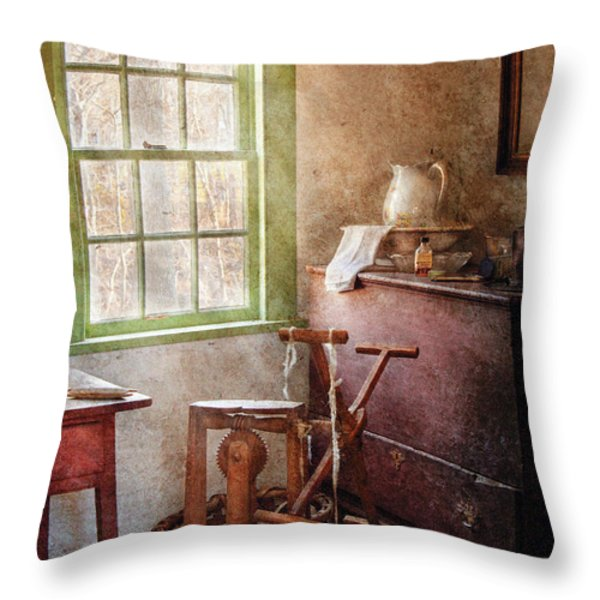Weaving - In The Weavers Cottage Throw Pillow by Mike Savad