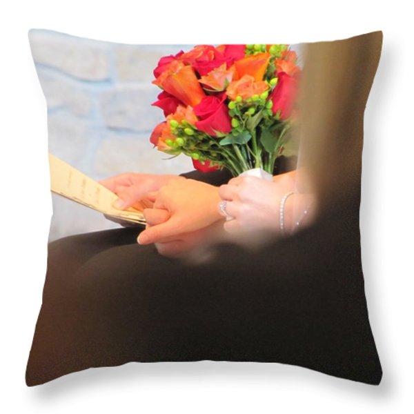 Wedding Hands Throw Pillow by Kelly Mezzapelle