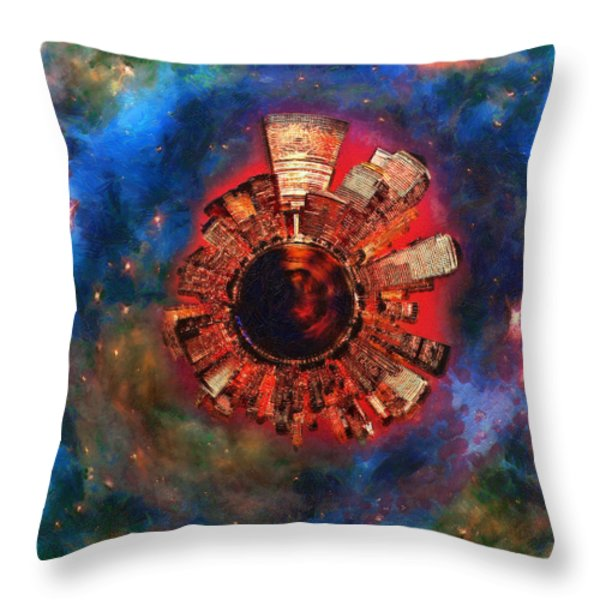 Wee Manhattan Planet - Artist Rendition Throw Pillow by Nikki Marie Smith