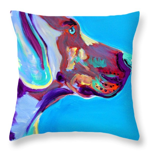 Weimaraner - Blue Throw Pillow by Alicia VanNoy Call