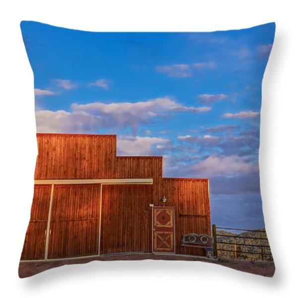 Western Barn Throw Pillow by Mike Hendren