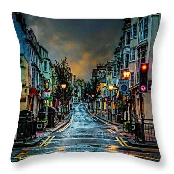 Wet Morning In Kemp Town Throw Pillow by Chris Lord