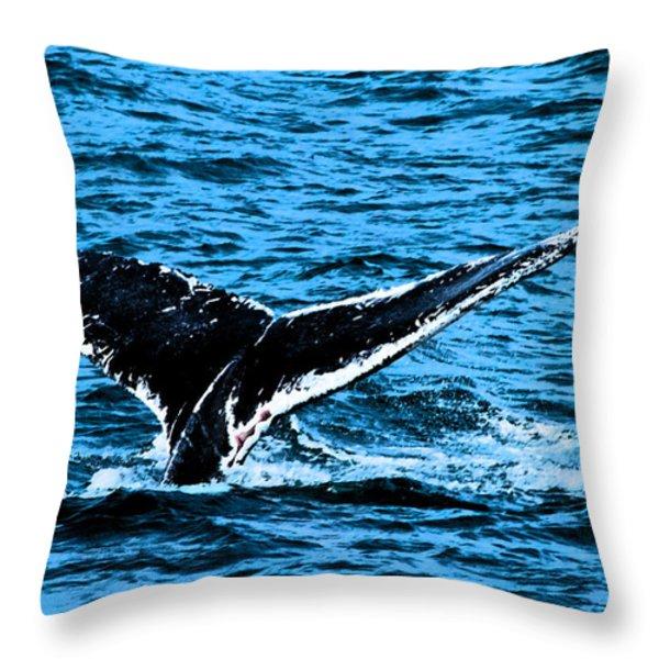 Whale Dip Throw Pillow by Karol  Livote