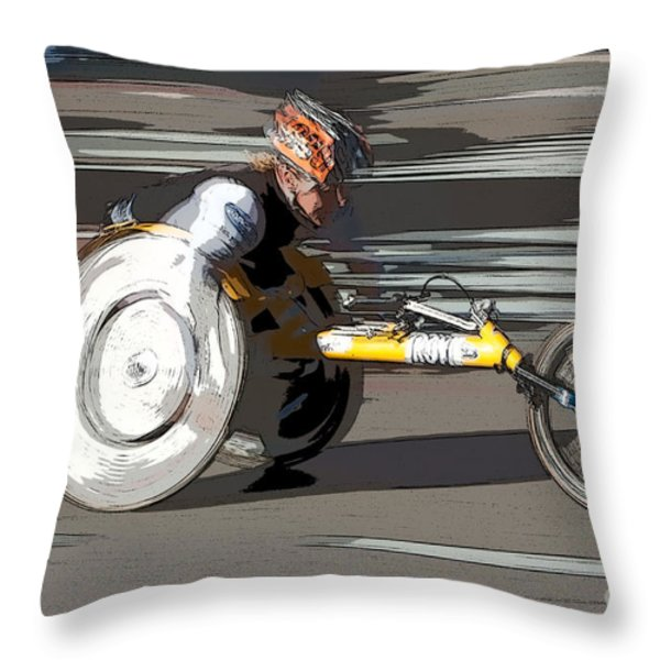 Wheelchair Racer Throw Pillow by Clarence Holmes