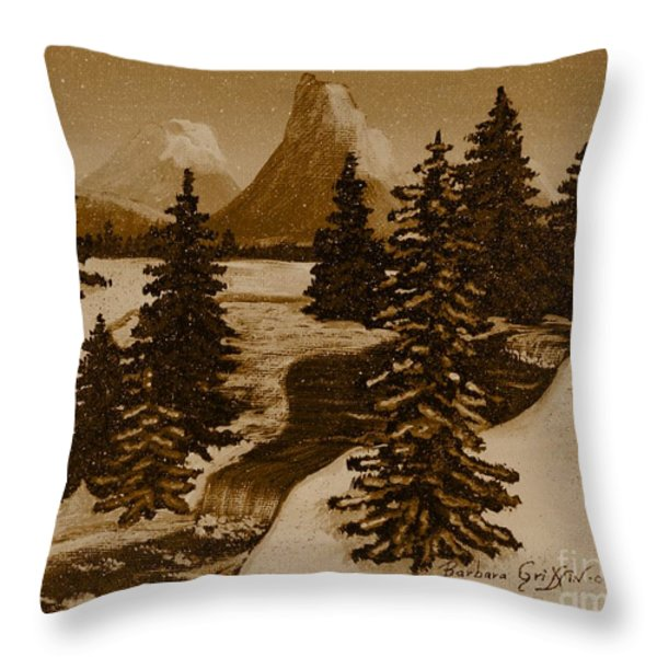 When it Snowed in the Mountains Throw Pillow by Barbara Griffin