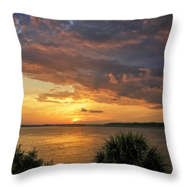 Where  The River Turns Throw Pillow by Phill Doherty