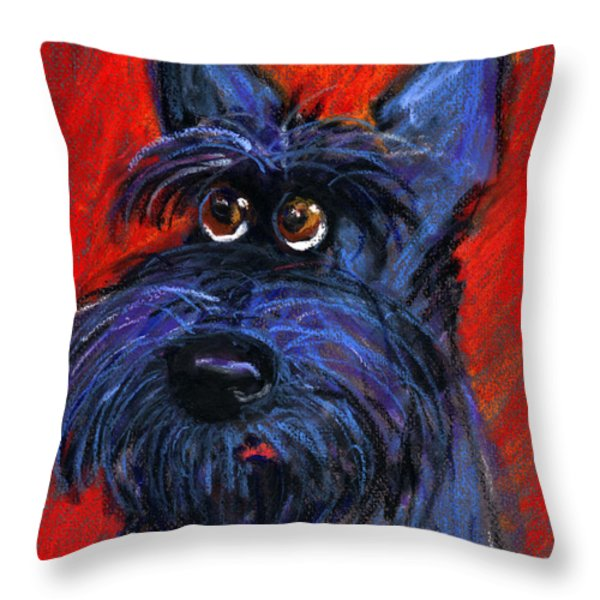 whimsical Schnauzer dog painting Throw Pillow by Svetlana Novikova