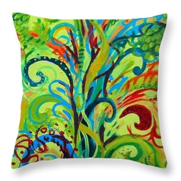 Whirlygig Tree Throw Pillow by Genevieve Esson