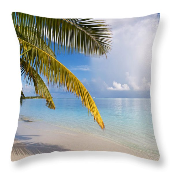 Whispering Palm On The Tropical Beach Throw Pillow by Jenny Rainbow