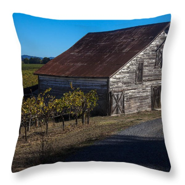 White barn Throw Pillow by Garry Gay