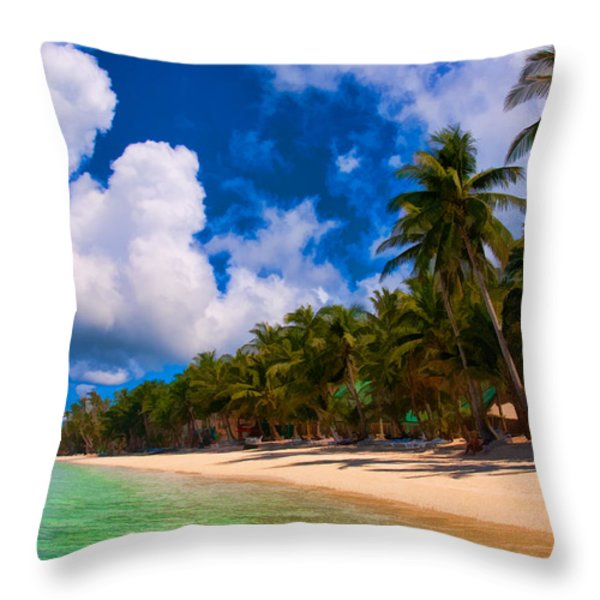 White Beach Boracay Throw Pillow by Joerg Lingnau