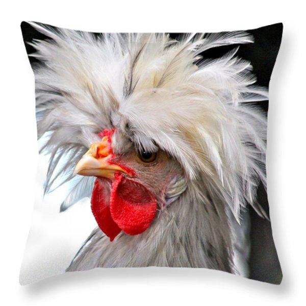 White Crested Blue Polish Cockerel Throw Pillow by Karon Melillo DeVega