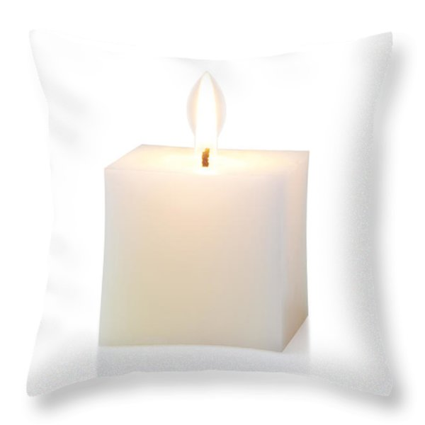 white cubic candle Throw Pillow by ATIKETTA SANGASAENG