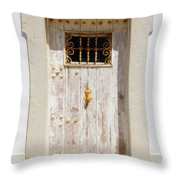 White Door Throw Pillow by Carlos Caetano