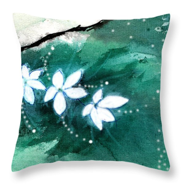 White Flowers Throw Pillow by Anil Nene