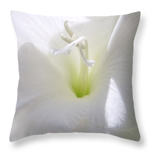 White Gladiola Flower Macro Throw Pillow by Jennie Marie Schell