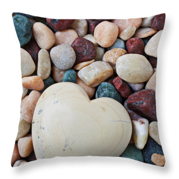 White Heart Stone Throw Pillow by Garry Gay