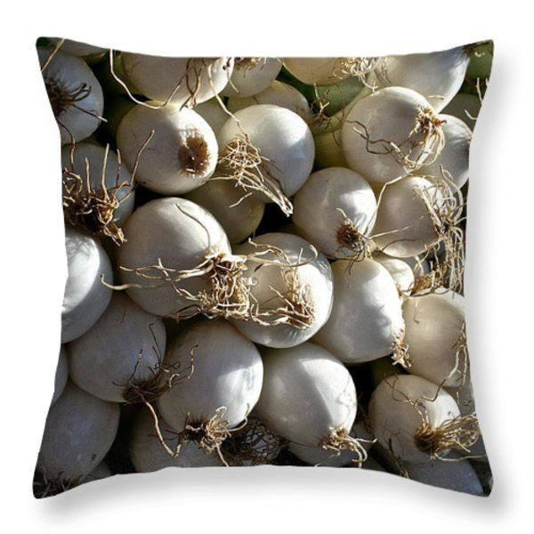 White Onions Throw Pillow by Susan Herber