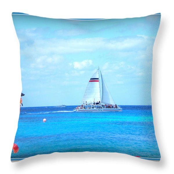White Sails Throw Pillow by Danielle  Parent