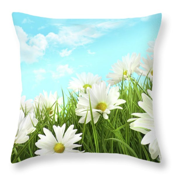 White summer daisies in tall grass Throw Pillow by Sandra Cunningham