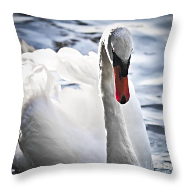 White swan Throw Pillow by Elena Elisseeva