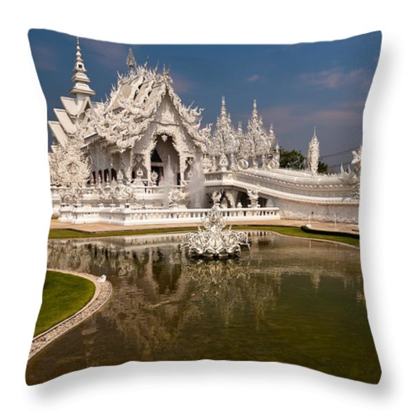 White Temple Throw Pillow by Adrian Evans