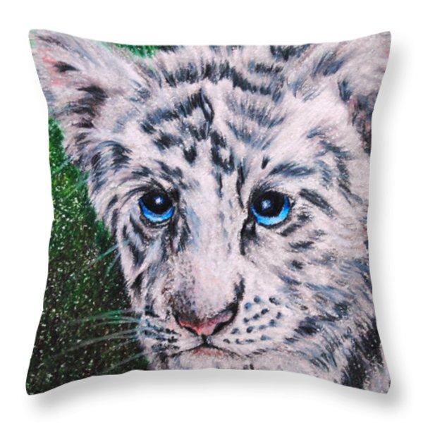 White Tiger Cub Throw Pillow by Jai Johnson