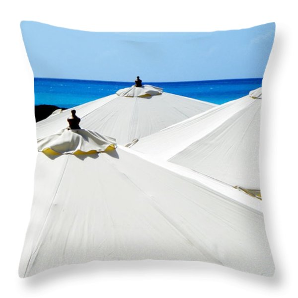White Umbrellas Throw Pillow by KAREN WILES