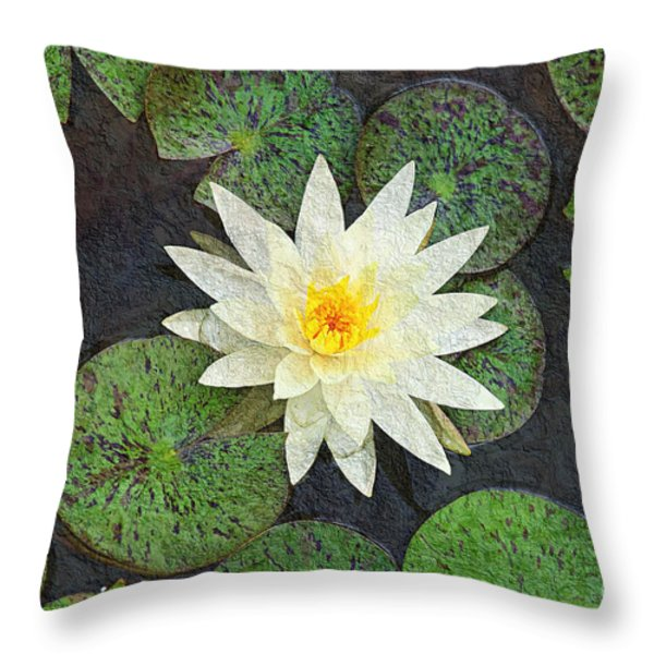 White Water Lily Throw Pillow by Andee Design