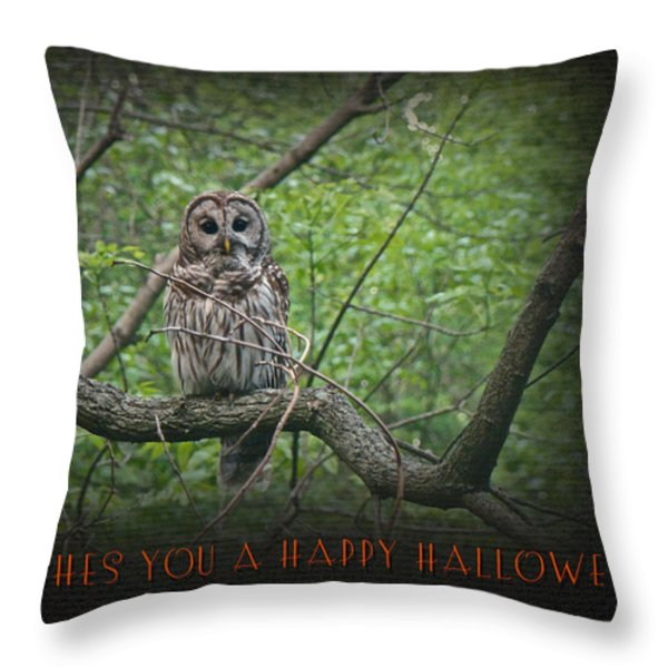 Whoooo Wishes  You A Happy Halloween - Greeting Card - Owl Throw Pillow by Mother Nature