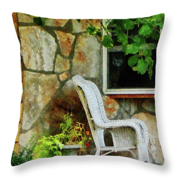 Wicker Rocking Chair On Porch Throw Pillow by Susan Savad