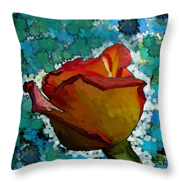 Wild And Crazy Rose Bud Throw Pillow by Debbie Portwood