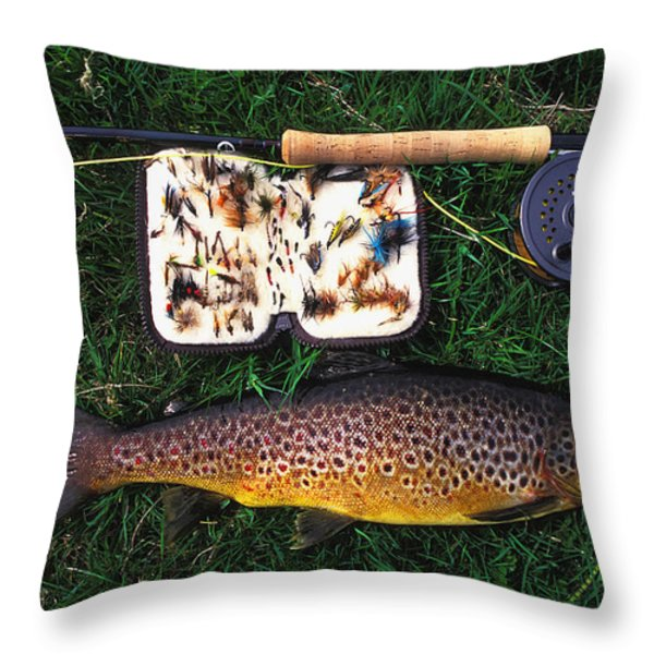 Wild Brown Trout And Fishing Rod Throw Pillow by Axiom Photographic
