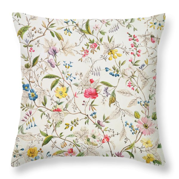 Wild flowers design for silk material Throw Pillow by William Kilburn