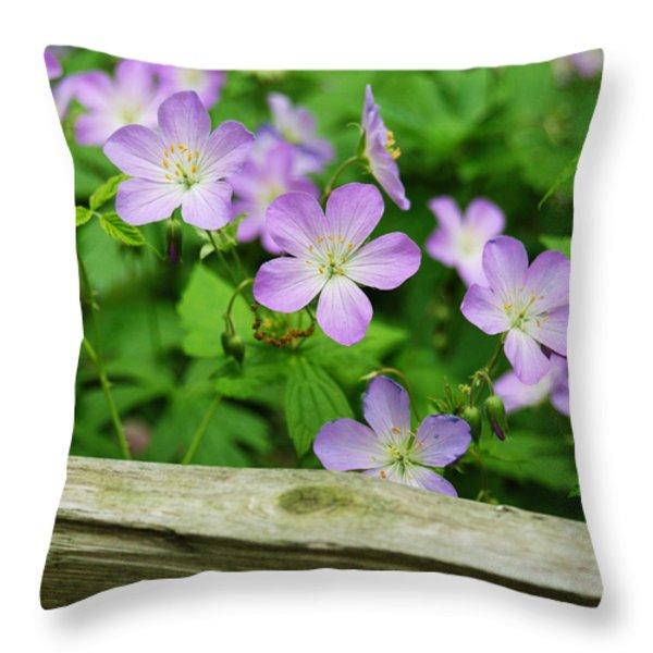 Wild Geraniums Throw Pillow by Michael Peychich