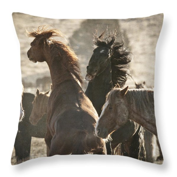 Wild Horse Battle D1713 Throw Pillow by Wes and Dotty Weber