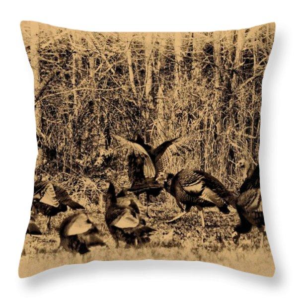 Wild Turkeys Throw Pillow by Bill Cannon