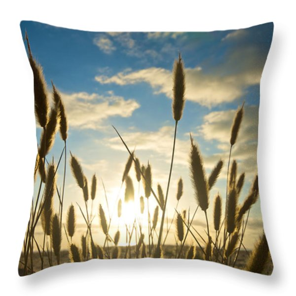 Wild Wheat Growing On The Shores Throw Pillow by Brooke Whatnall