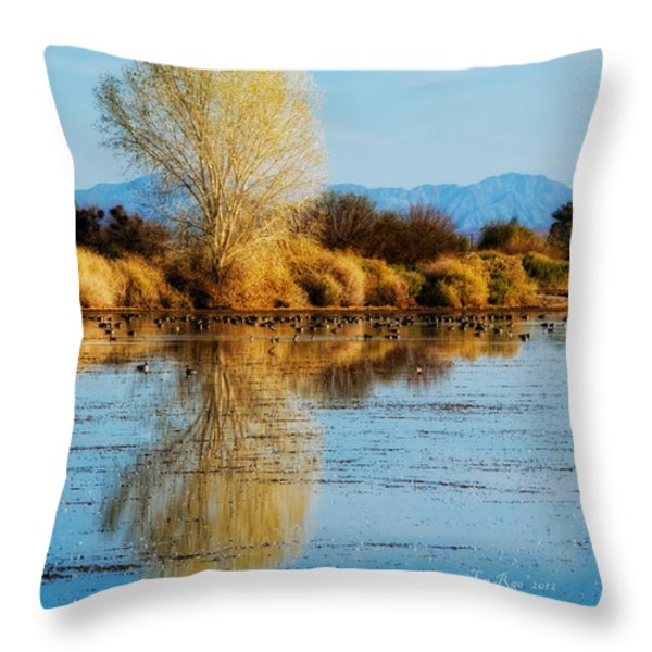 Wildlife Refuge Reflection Throw Pillow by La Rae  Roberts