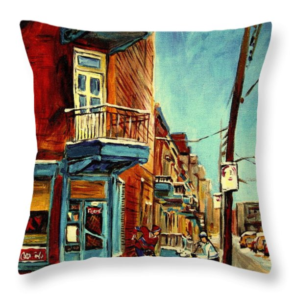Wilensky's Corner Fairmount And Clark Throw Pillow by Carole Spandau