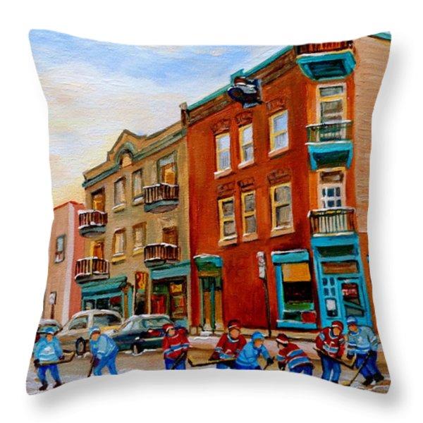 Wilensky's Street Hockey Game Throw Pillow by Carole Spandau