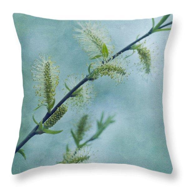 willow catkins Throw Pillow by Priska Wettstein