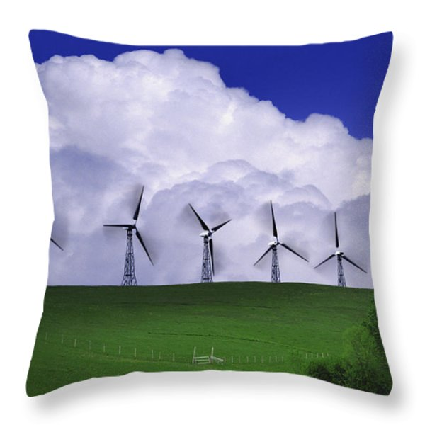 Wind Generators With Clouds In Throw Pillow by Don Hammond