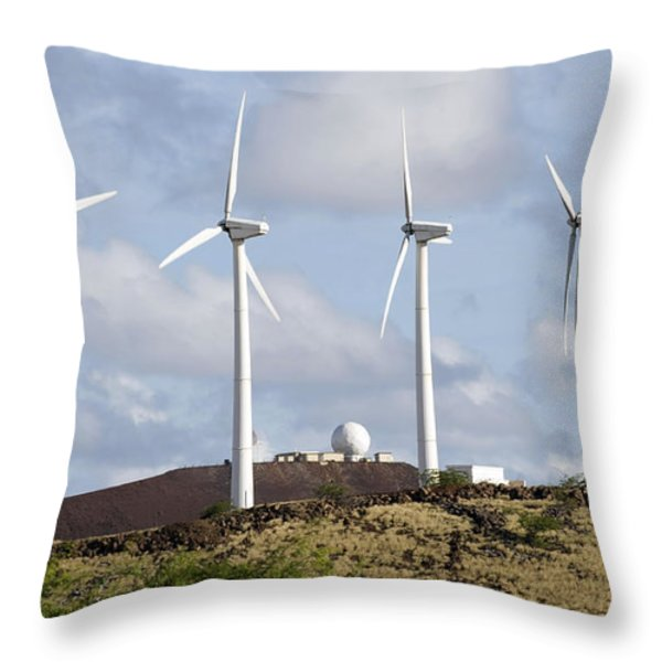 Wind Turbines At The Ascension Throw Pillow by Stocktrek Images