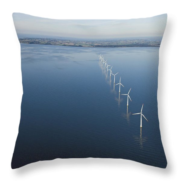 Wind Turbines Provide Energy Throw Pillow by Andrew Henderson