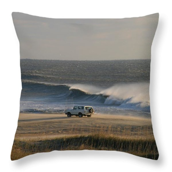 Wind, Waves And Fisherman In An Suv Throw Pillow by Skip Brown