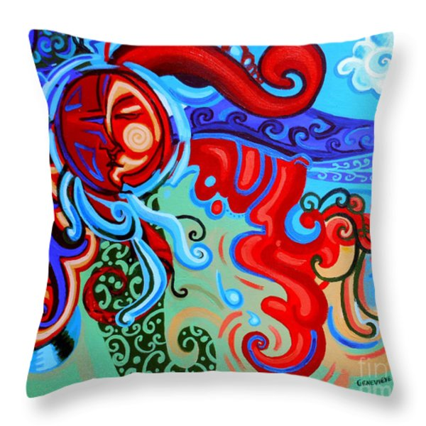Winding Sun Throw Pillow by Genevieve Esson