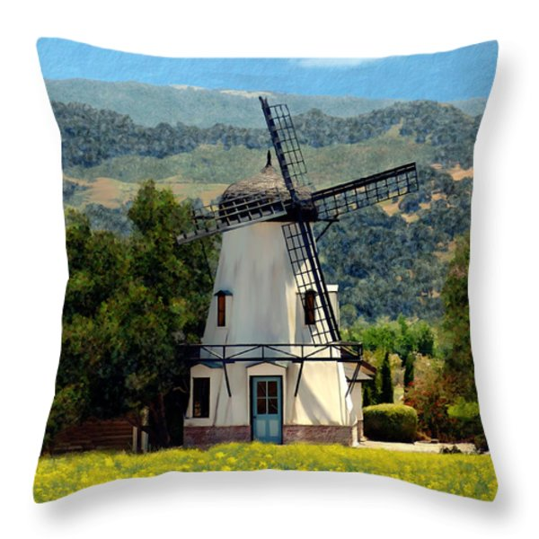 Windmill At Mission Meadows Solvang Throw Pillow by Kurt Van Wagner