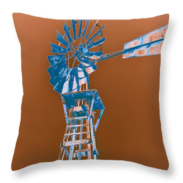 Windmill blue Throw Pillow by Rebecca Margraf