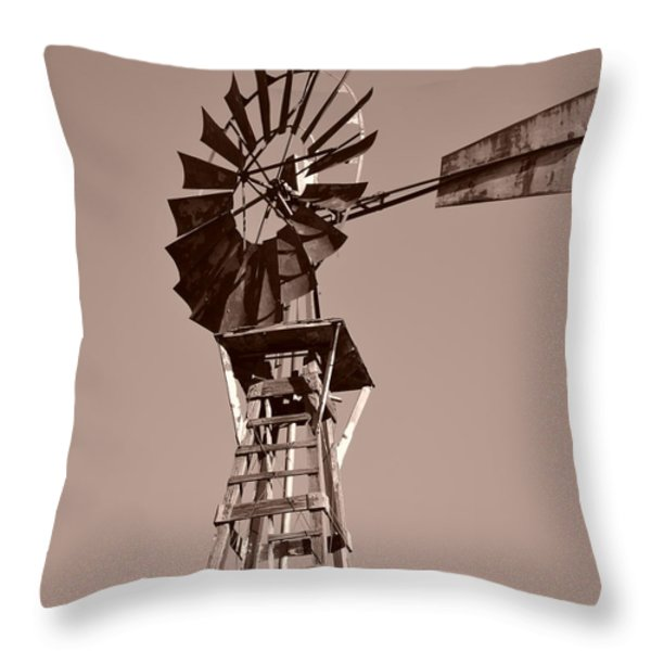 Windmill Sepia Throw Pillow by Rebecca Margraf